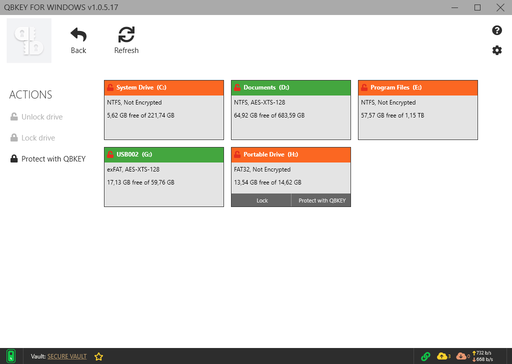 Full disk encryption drive manager screenshot